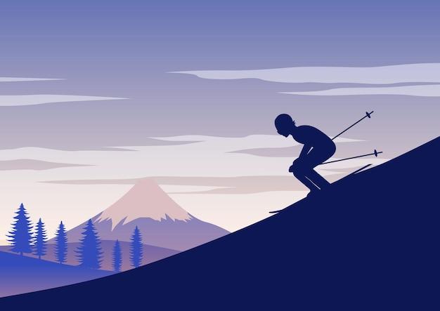 男のスキーのシルエットデザイン
