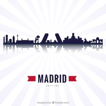 Silhouette design of the skyline of madrid Free Vector
