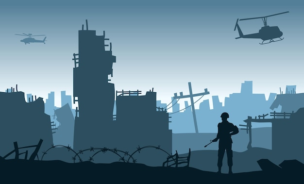 Silhouette design of soldier standing and hold gun in the city after of the war,vector illustration