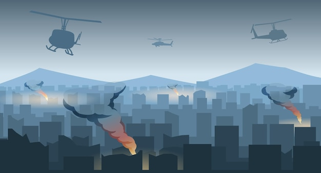 Silhouette design of war in the middle of city,vector illustration