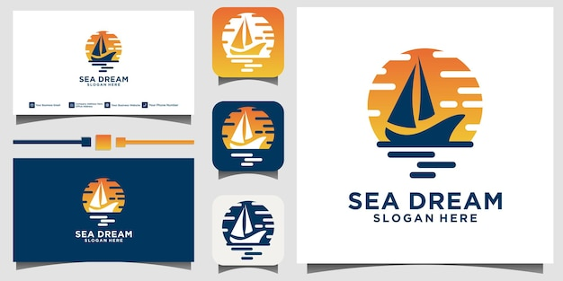 Silhouette of dhow logo design, traditional sailboat from asia africa template business card background