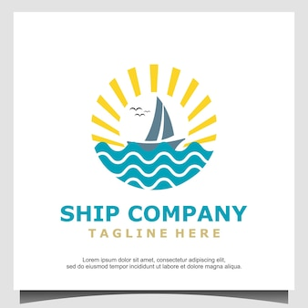 Silhouette of dhow logo design, traditional sailboat from asia africa