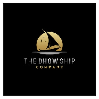 Silhouette of dhow traditional sailboat logo