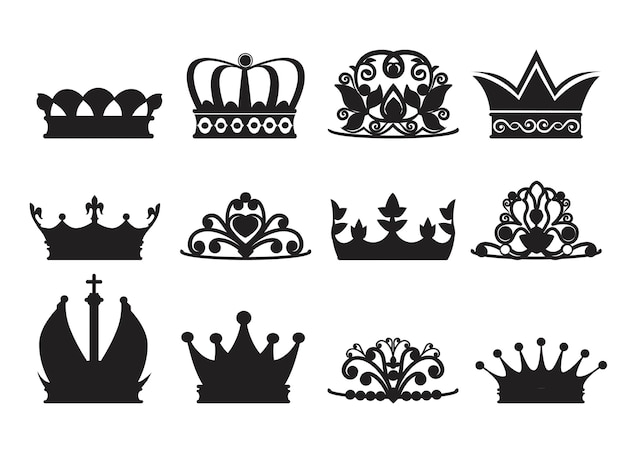 Silhouette of diadems and crowns.  monochrome pictures isolate. crown queen or princess, luxury crown decoration illustration