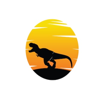 Silhouette of dinosaur in black with sunset