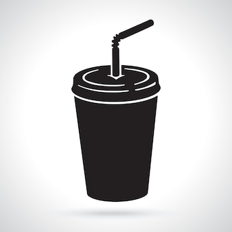 Silhouette of disposable glass of paper with soda and straw unhealthy food vector illustration