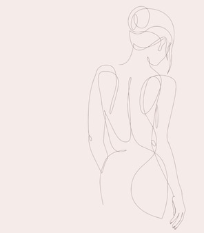 Silhouette of elegant lady . female figure. outline of young girl. linear art.