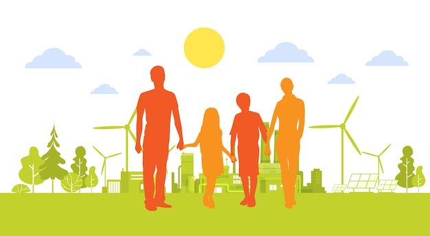 Силуэт семьи холдинг руки зеленый город