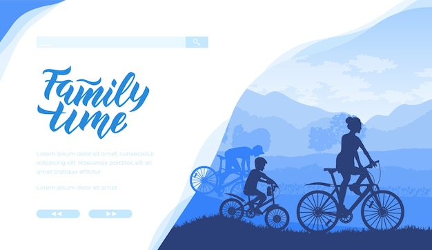 Silhouette of family riding bicycle together in blue colours. father, mother, son spending time.