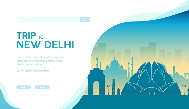 Silhouette of famous indian landmarks and sightseeing attractions. lotus temple, india gate.