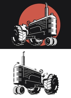 Silhouette farm tractor vintage isolated