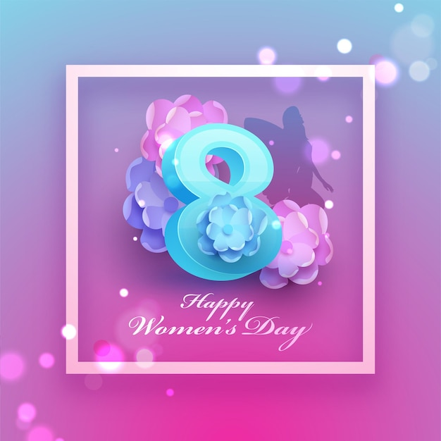 Silhouette female angel on blue and pink bokeh background for happy women's day concept.