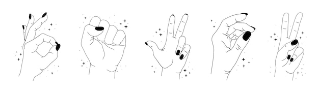 Silhouette of female magic hands with stars