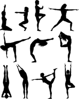 Silhouette of females in various yoga poses