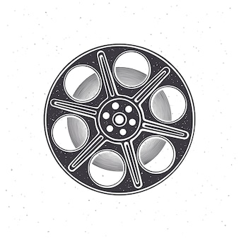 Silhouette of film stock front view vector illustration vintage camera reel movie industry