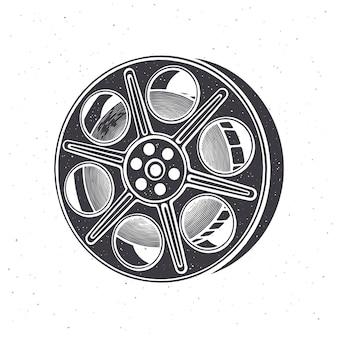 Silhouette of film stock vector illustration vintage camera reel movie industry