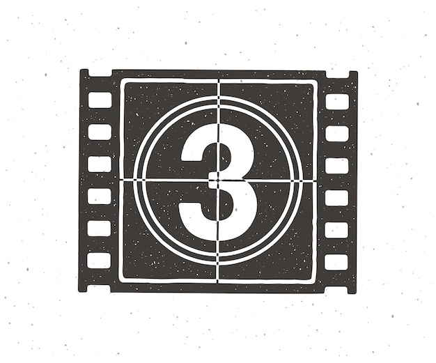 Silhouette of film strip part with countdown timer vector illustration retro frame of filmstrip