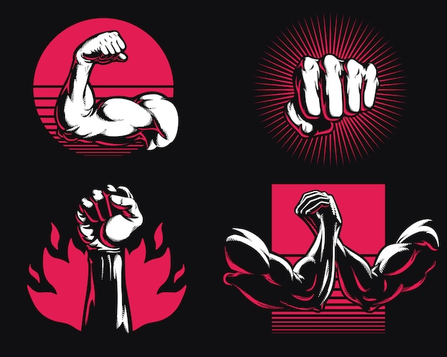 Silhouette fitness gym bodybuilding arm hand icon logo mixed martial art mma illustration