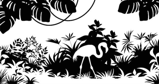 Силуэт фламинго пальмы и лианы