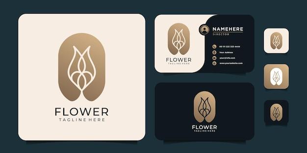 シルエットの花のロゴ。ナチュラルフラワーラグジュアリーロゴ