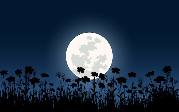 Silhouette of flowers with full moon