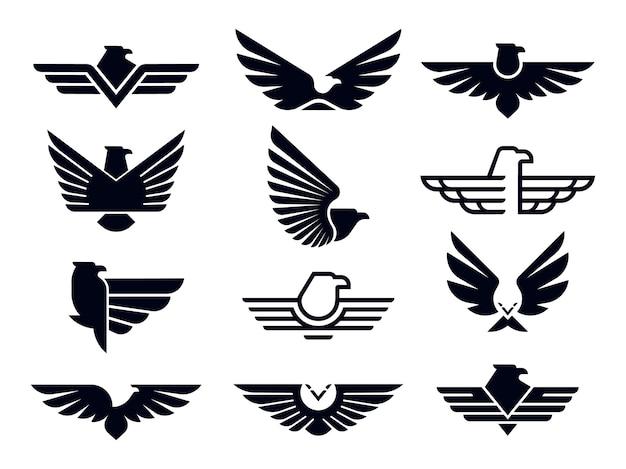 실루엣 비행 독수리 상징, 날개 달린 배지 및 자유 매 날개 스텐실.