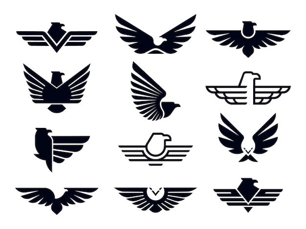 Silhouette flying eagles emblem, winged badge and freedom hawk wings stencil.