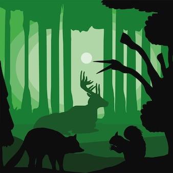 シルエットの森の動物