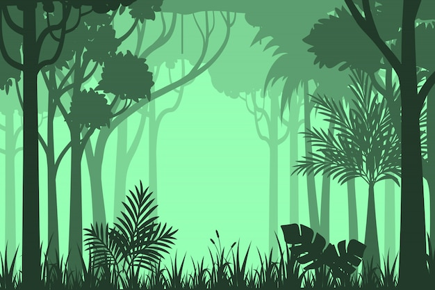 실루엣 숲 배경