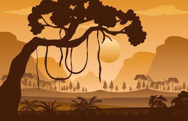 日没時のシルエットの森の風景