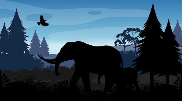 Silhouette forest landscape background
