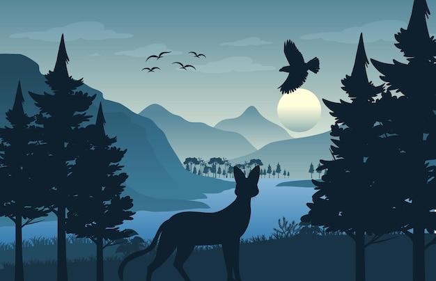 シルエットの森の風景の背景