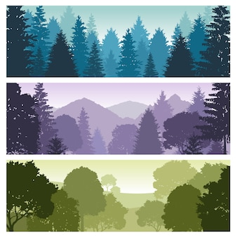 Silhouette forest panorama skyline with pine trees, vector nature wildlife landscape backgrounds