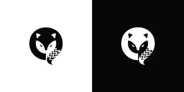 Silhouette fox logo premium vector