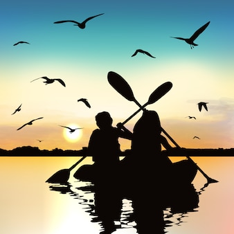 Silhouette of funny girls kayaking.