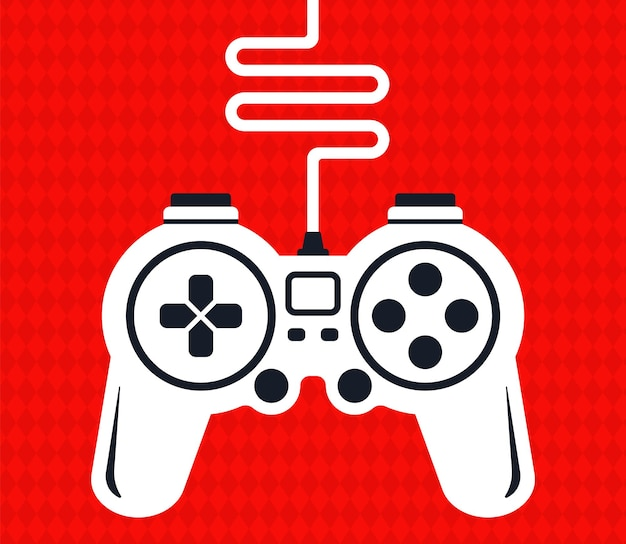 Silhouette of a game joystick with wire for computer games. flat vector illustration.