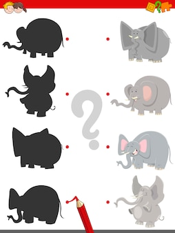 Silhouette game with elephants