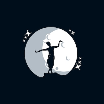 Silhouette of girl dancing on the moon logo