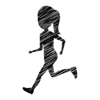 Silhouette girl running icon design isolated