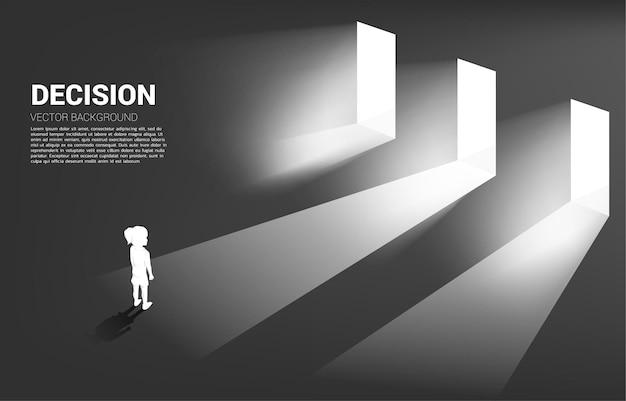 Silhouette of girl standing in front of door with light