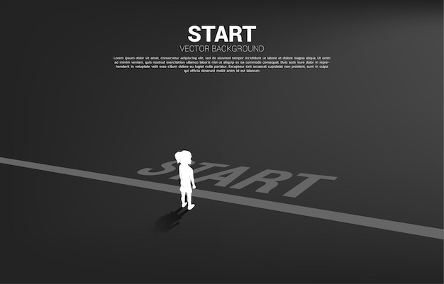 Silhouette of girl standing at start line