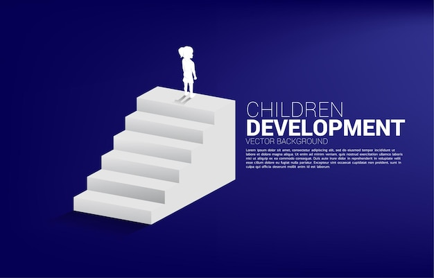 Silhouette of girl standing on top of stair. banner of people ready to up level of career and business.
