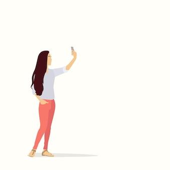 Silhouette Girl Taking Selfie Photo On Smart Phone