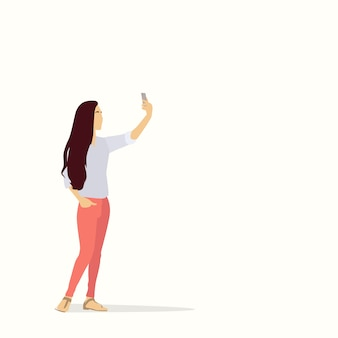 Silhouette girl taking selfie photo on smart phone