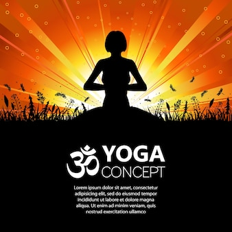 Silhouette of a girl in yoga pose on nature background with grass, flower and butterfly. vector illustration.