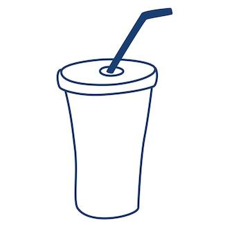 음료를 위한 일회용 실루엣 유리. 튜브 윤곽이 있는 플라스틱 컵. 신선한 차가운 음료 기호입니다.