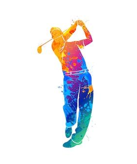 水彩画のスプラッシュからシルエットのゴルフプレーヤー。塗料のイラスト。