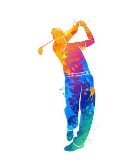 Silhouette golf player from splash of watercolors. illustration of paints.