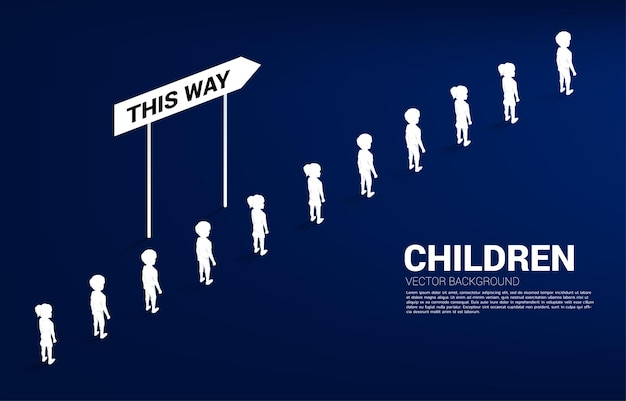 Silhouette group of boy and girl in queue with direction. concept of education solution and future of children.