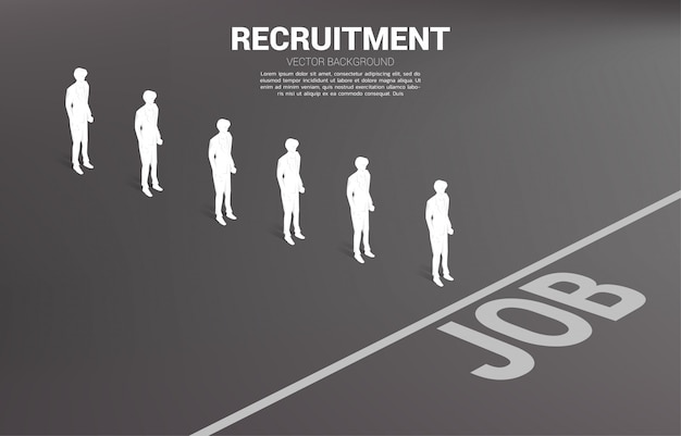 Silhouette group of businessman queue to job line. concept of business career and recruitment.